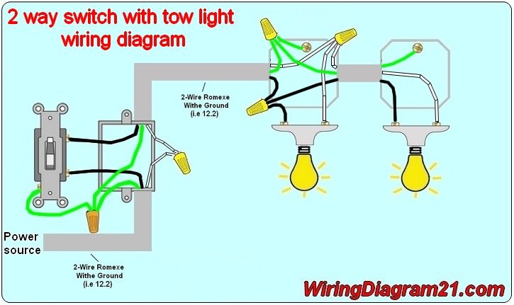 Two Way Wiring Diagram For Light Switch : Way light switch wiring diagram house electrical