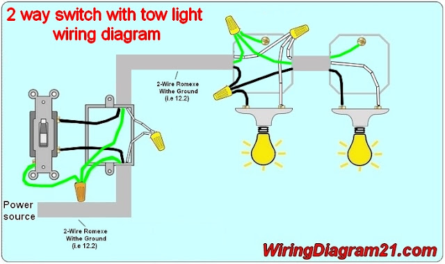 2 way light switch wiring diagram electrical circuit schematic how to wire one switch tow light