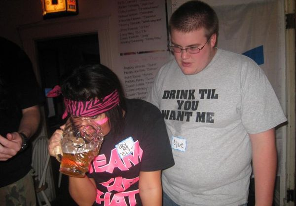 'DRINK TIL YOU WANT ME' T-Shirt as worn by a virgin fat fuck
