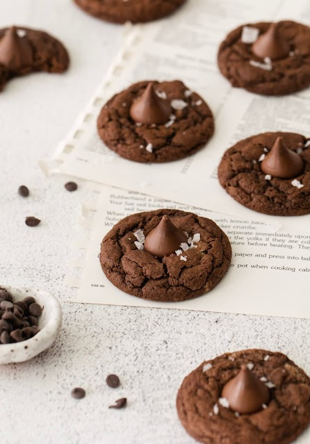 cookies on a white background with chocolate chip garnish