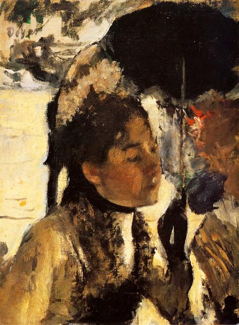 Эдгар Дега - Тюильри, женщина с зонтиком (1877)