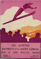 A poster for ski jumping at the Winter Carnival.