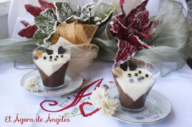 Vasitos inclinados de tres chocolates