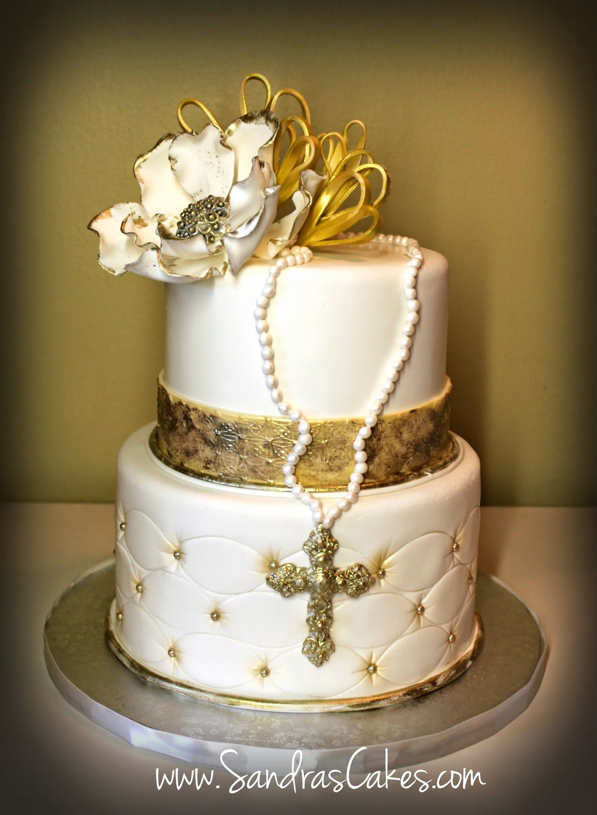 Elegant Gold First Communion Cake and Dessert Table