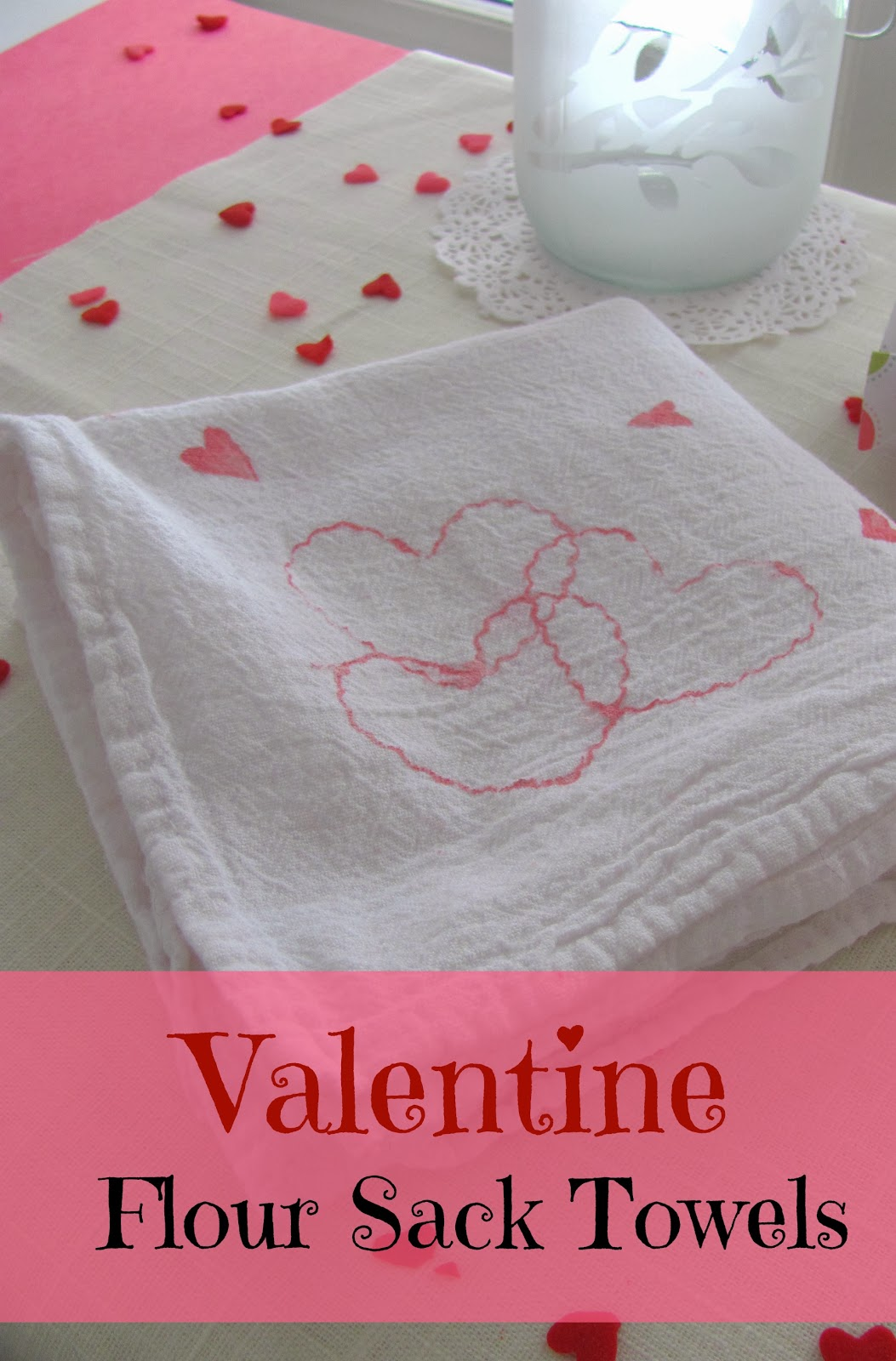 flour sack Valentine towel with pink hearts