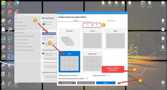 dividere lo schermo di windows in 12 parti