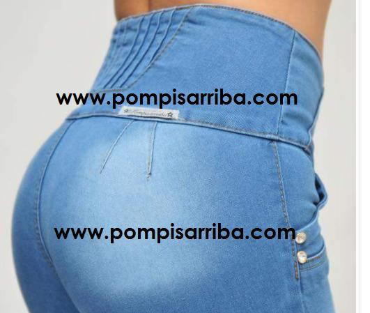Pantalon en Color Azul Claro con Desgaste en Pompas con leyenda de sitio pompisarriba.com