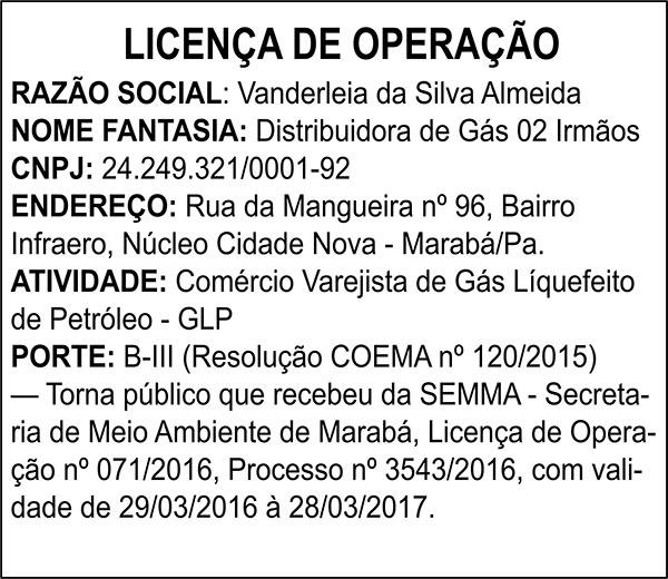LICENÇA DE OPERAÇÃO - VANDERLEIA DA SILVA ALMEIDA