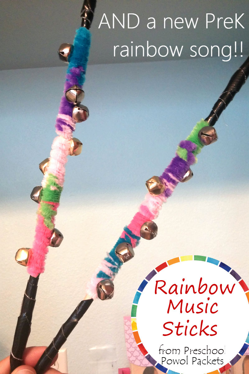 making a rainbow preschool music stick is super easy all you need is a wooden dowel you could even use an unsharpened pencil colored fuzzy sticks aka - All The Colors Of The Rainbow Song
