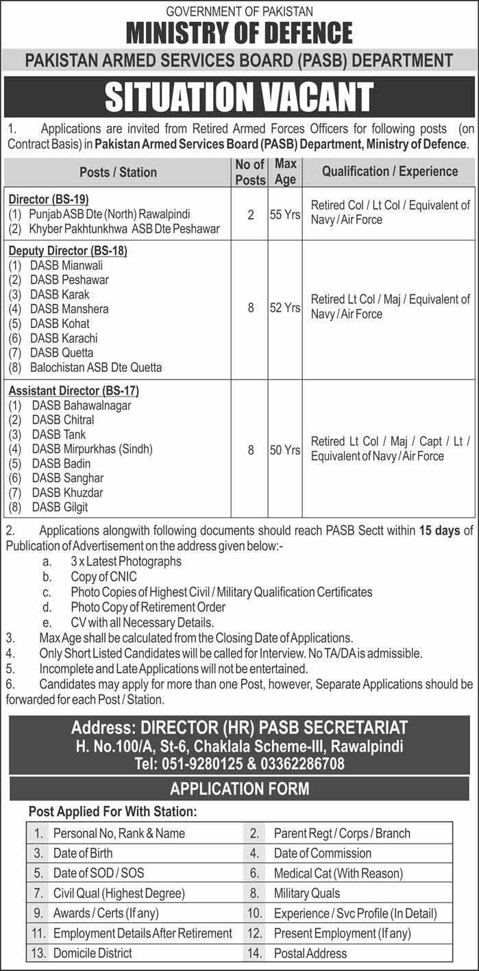Ministry Of Defence Govt Of Pakistan Jobs