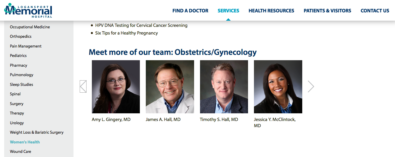 Screenshot of Logansport Memorial Hospital OB/GYN page