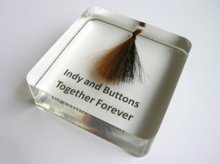 Bespoke paperweight made from the hair of two horses