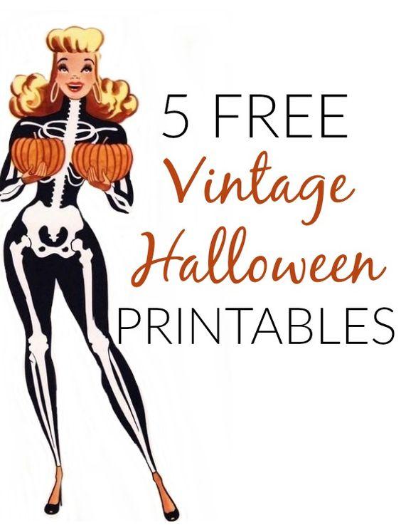 5 free vintage halloween printables