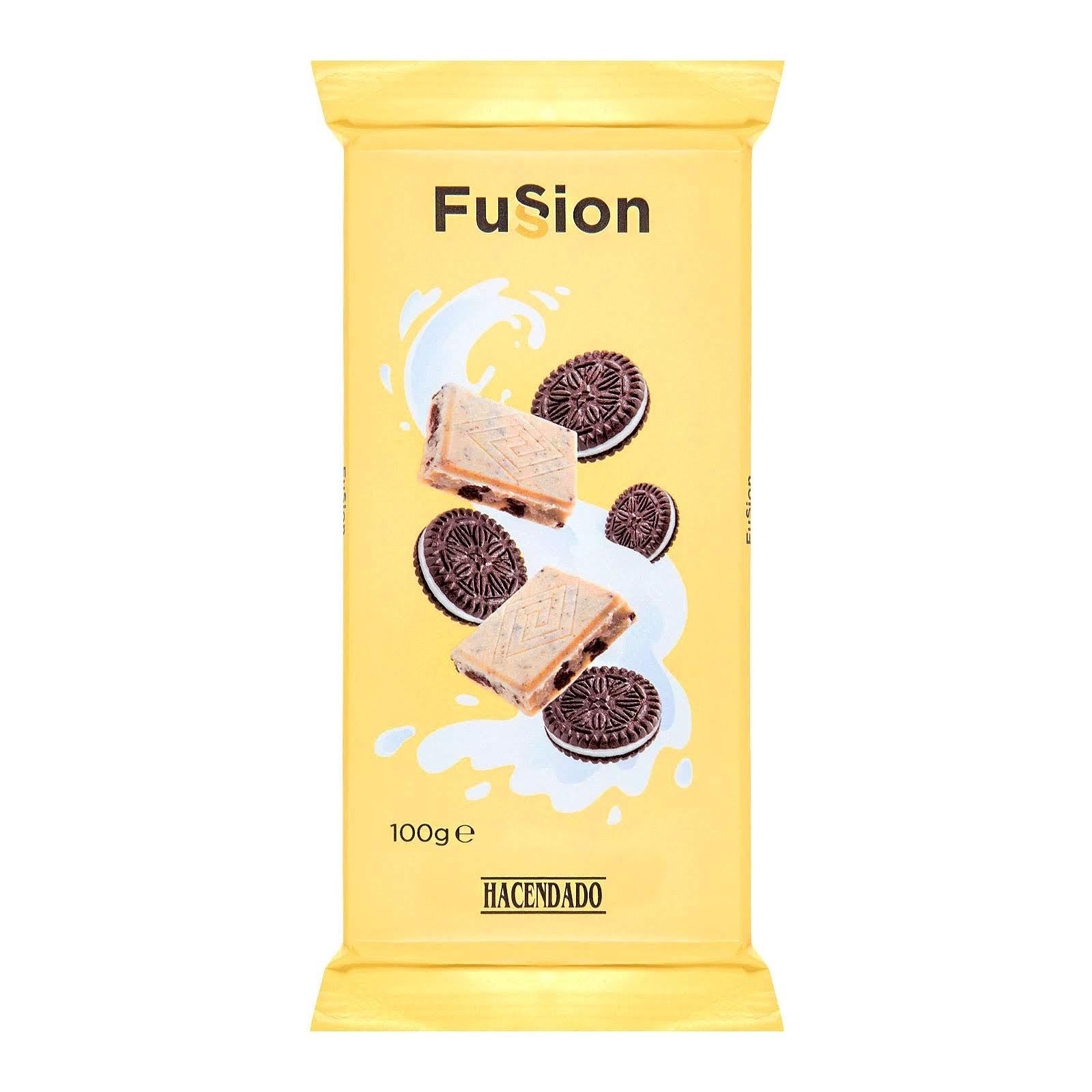 Chocolate blanco con galletas al cacao Fussion Hacendado