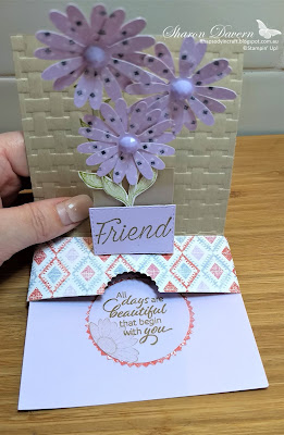 Purple posy, Daisy Lane, Floral Essence, slider pop up card, fancy fold, rhapsody in craft, in colour, colour creations, art with heart
