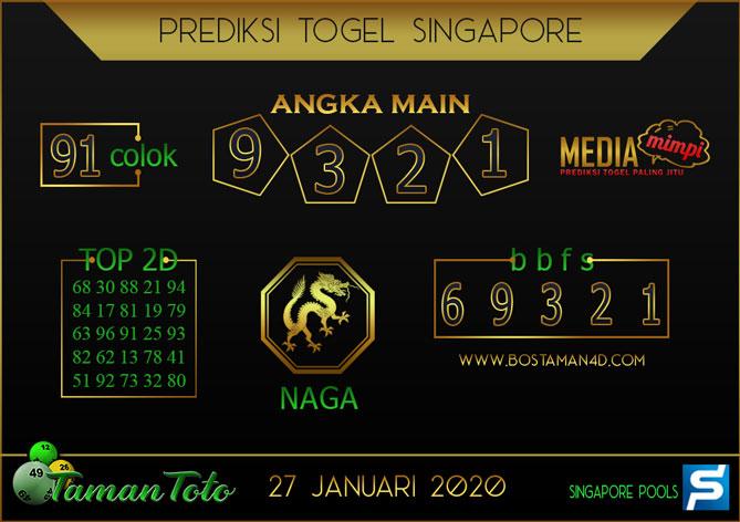 Prediksi Togel SINGAPORE TAMAN TOTO 27 JANUARI 2020