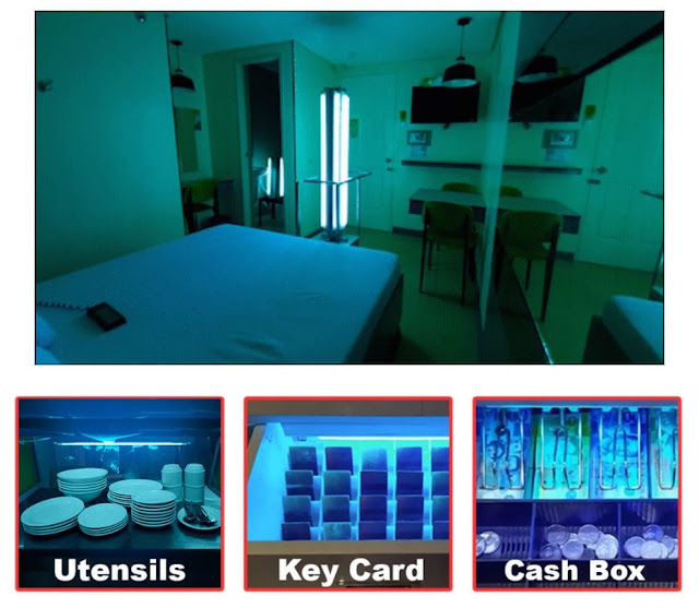 UVC Disinfection of Rooms, Utensils, Key Cards & Cash