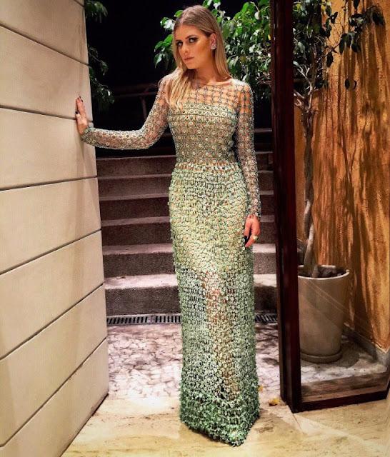 vestido de festa verde manga longa bordado