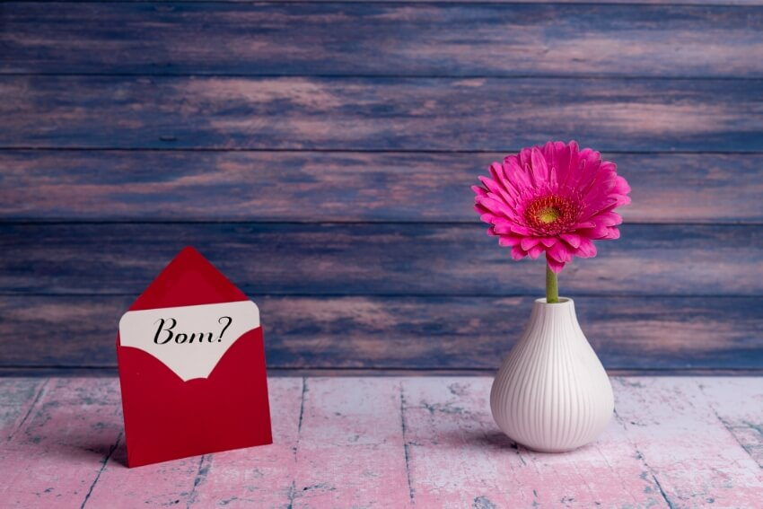 vaso, flor ,carta