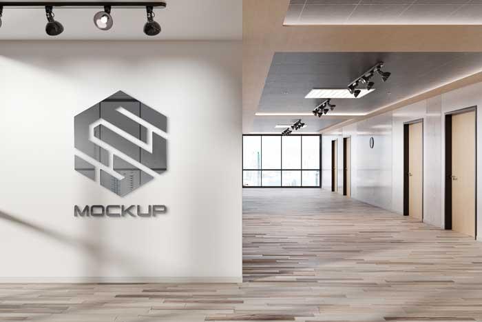 Reflective Office Wall Logo Mockup