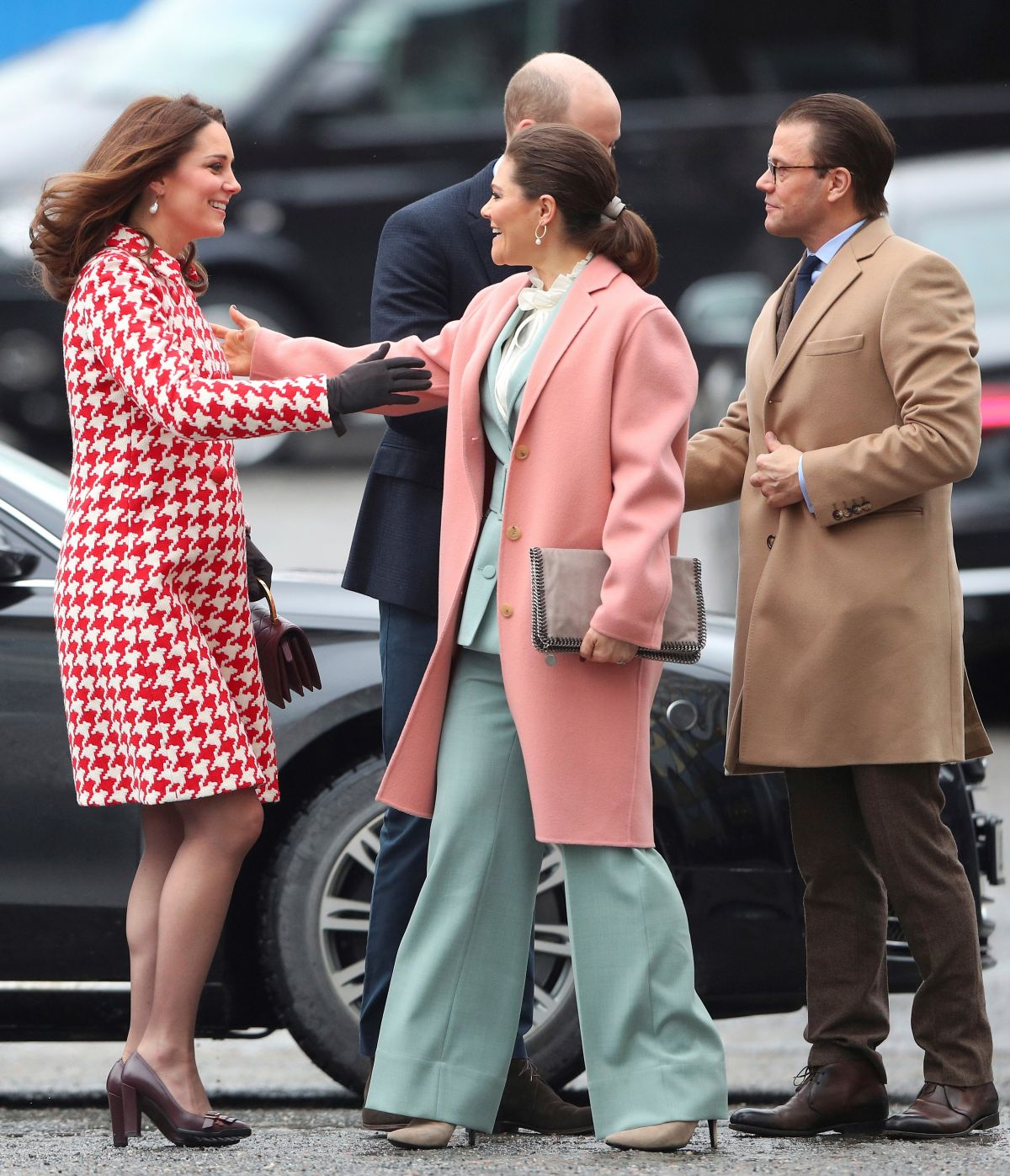 Kate Middleton And Crown Princess Victoria Of Sweden At Karolinska Institute In Stockholm