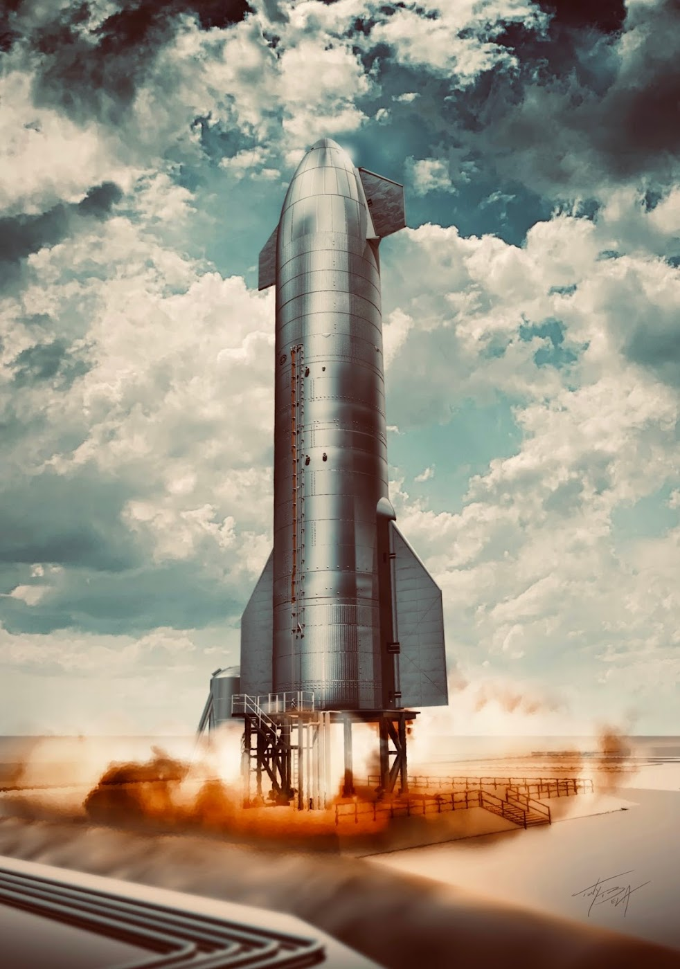 Poster of SpaceX's Starship SN8 on launch stand by Tony Bela