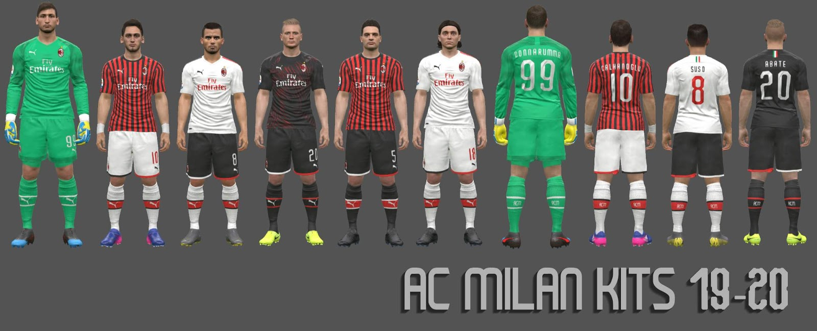 AC Milan Kits 19/20 by ARH For PES 17
