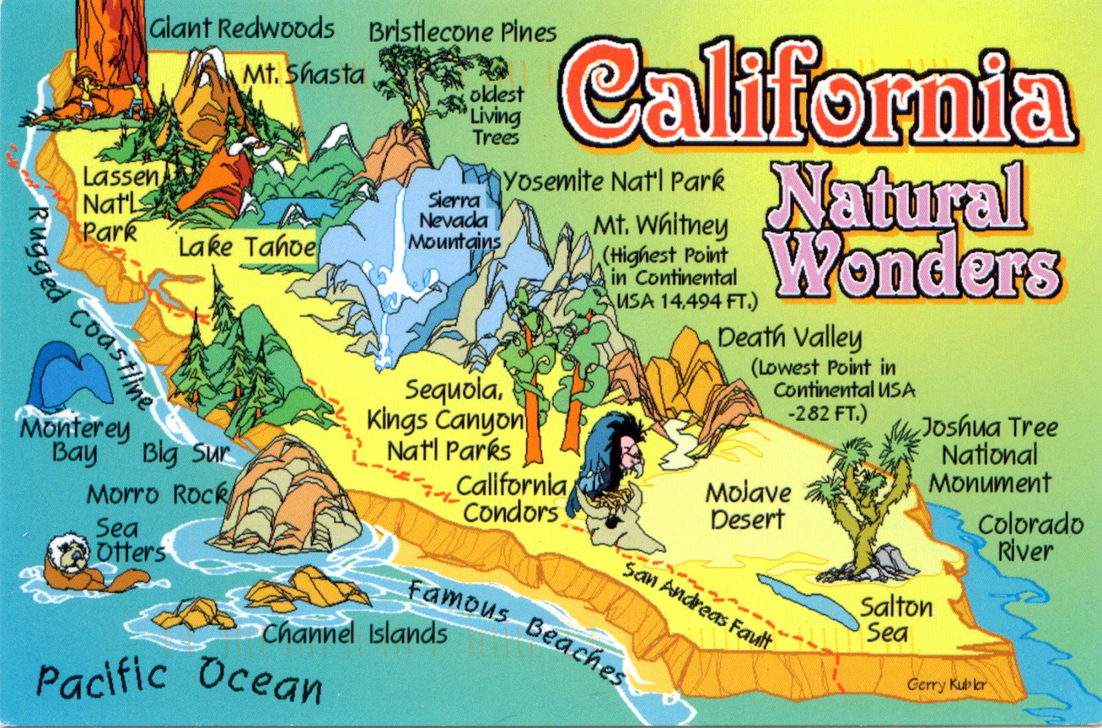 California Map Cartoon.World Come To My Home 0479 United States California