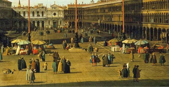 A detail of the painting of the Piazza San Marco looking westwards by Canaletto