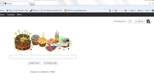 Happy Birthday Message to me from Google