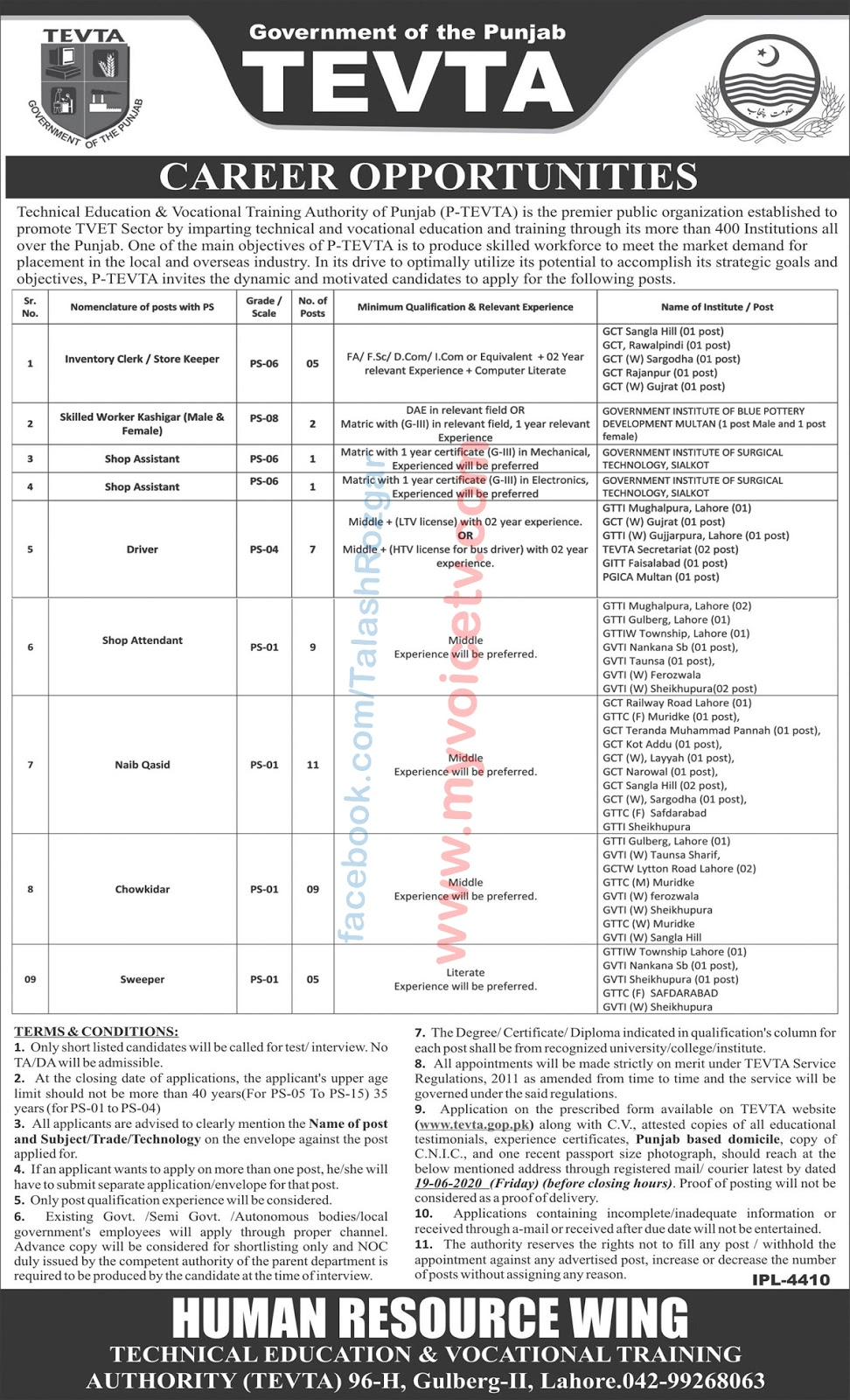 Latest #Jobs #Career_Opportunities at TEVTA - Govt of the Punjab (51 Posts)  - For details please visit this link