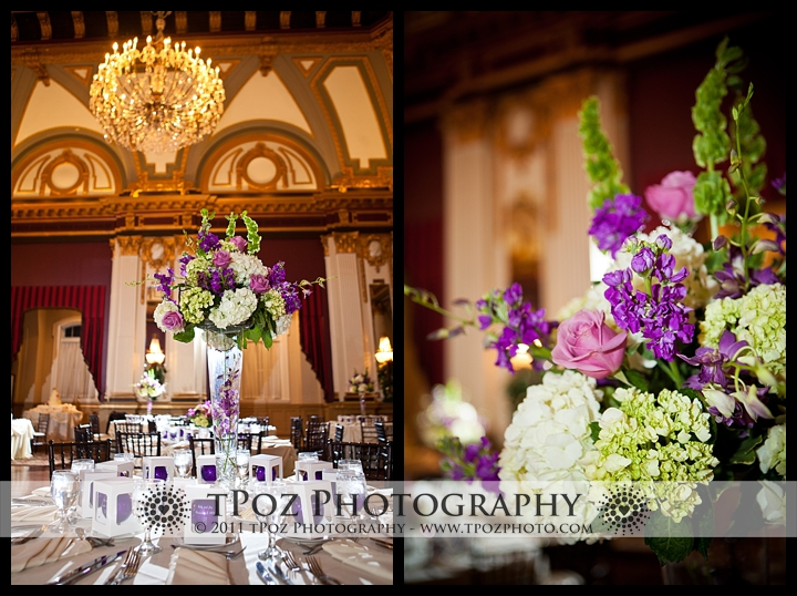 My Flower Box centerpieces at a Belvedere Hotel Wedding