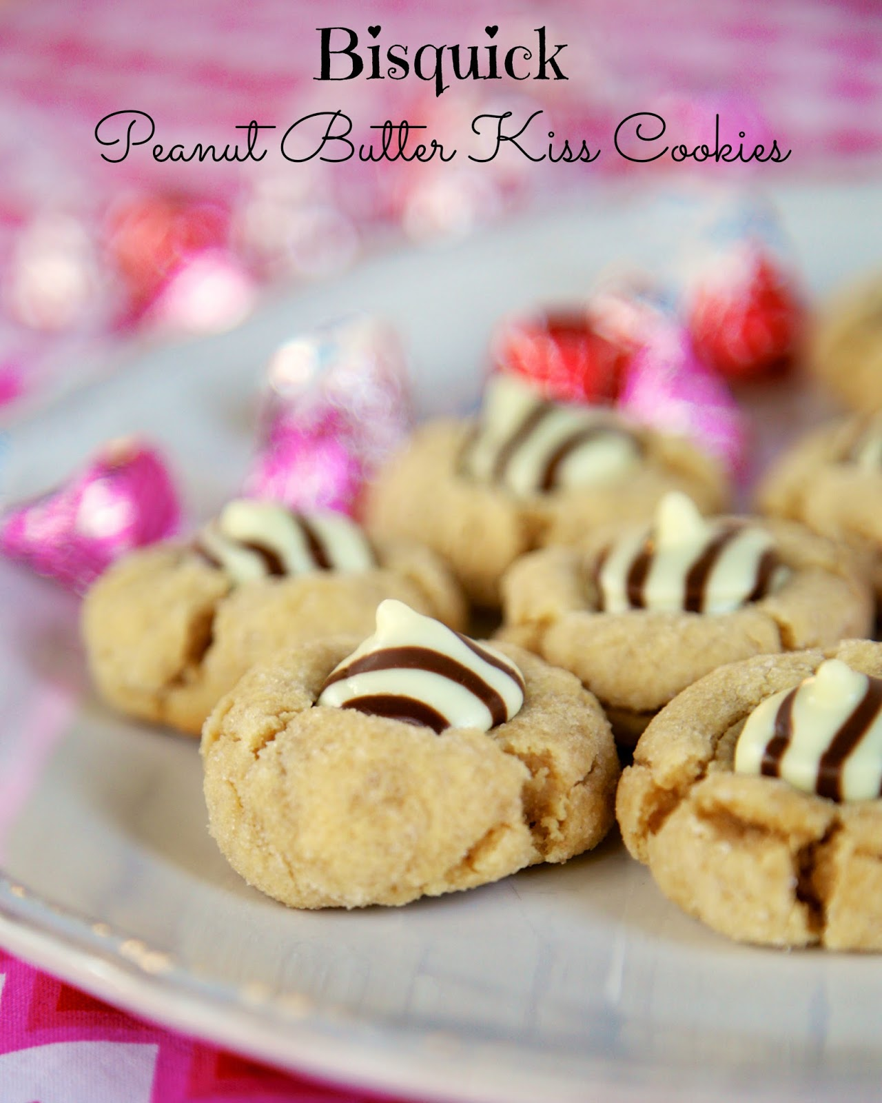 Bisquick Peanut Butter Cookies - seriously the BEST peanut butter cookies! Peanut butter, sweetened condensed milk, Bisquick, vanilla. Top cookies with a chocolate kiss immediately after taking out of the oven. Always gone in a flash!