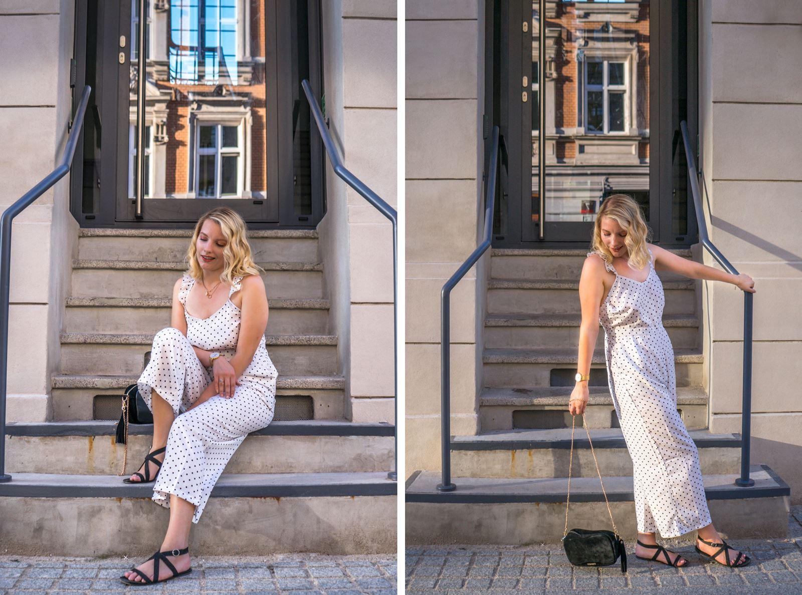 5 modny kombinezon sukienka w groszki jak nosić w grochy sukienki idealne ubranie na wesele w co ubrać się na wesele w lato na poprawiny na-kd opinie modne stylizacje na lato sukienki dla blondynki