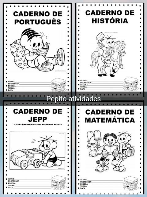 Capas para caderno de atividades ilustradas com imagens da Turma da Mônica em PDF para baixar e imprimir grátis.