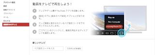 youtube TV出力設定画面