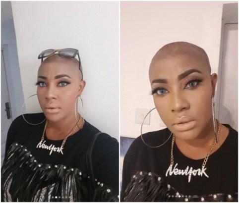 Nollywood actress Angela Okorie gets baldness