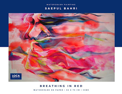 karya saepul bahri watercolor breathing in red