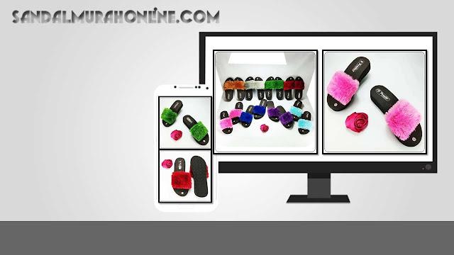 Wedges Slop Bulu Simplek Terbaru - Grosir Sandal Murah Online