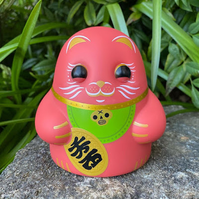 Maneki Neko Red Tiny Ghost Vinyl Figure by Reis O'Brien x Bimtoy x Bottleneck Gallery