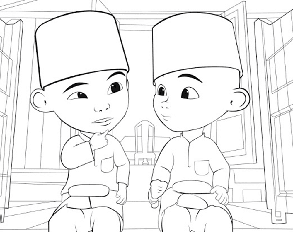 Gambar Mewarnai Upin Ipin Anak Kartun