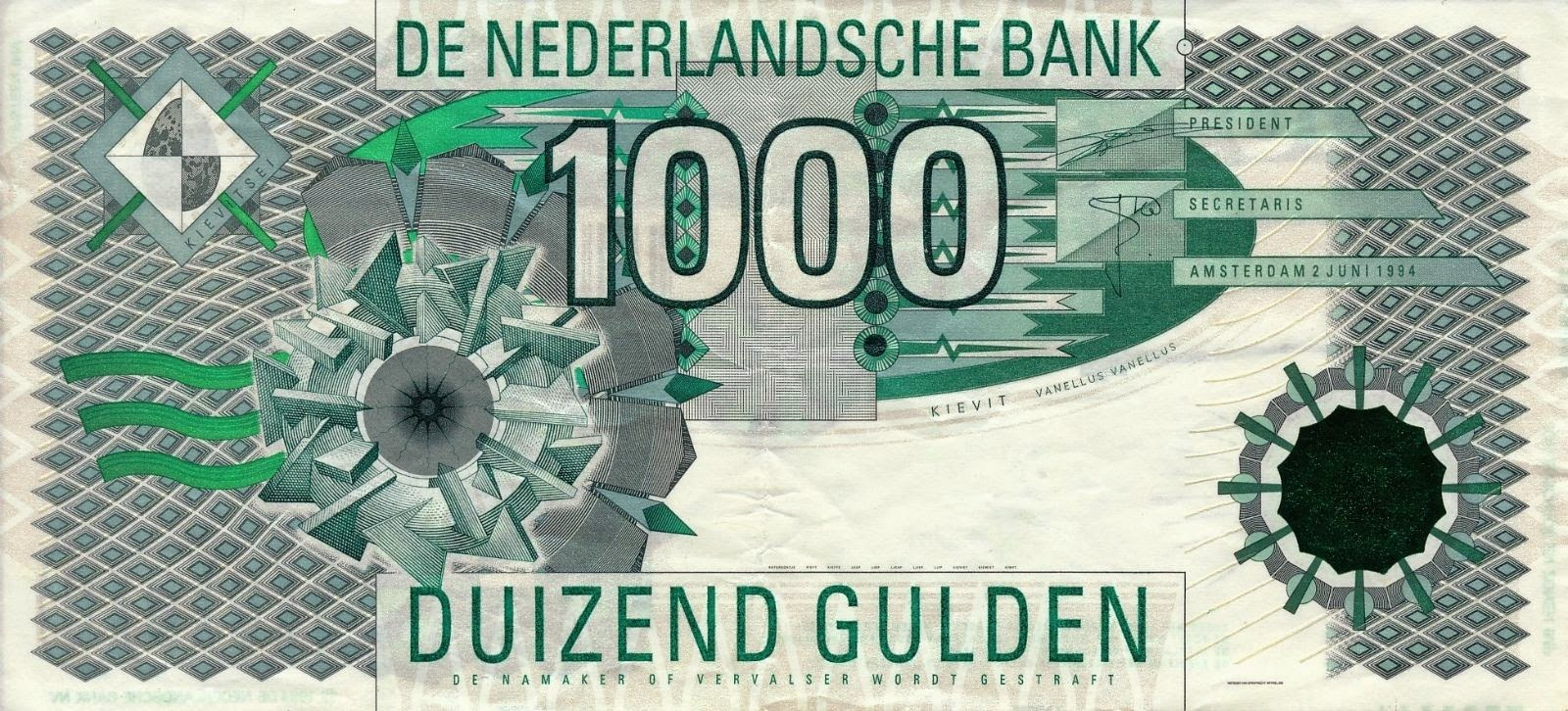 Banknotes of the Dutch guilder Netherlands 1000 Gulden Banknote 1994