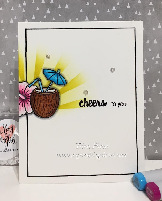 Sunny Studio Stamps: Tropical Paradise Coconut Umbrella Drink Card by Trina Pham