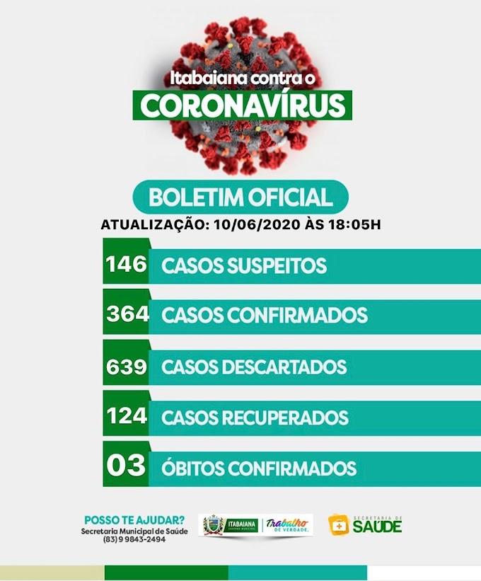 BOLETIM CORONA-VÍRUS (Itabaiana): Fique informado sobre atualizações em sua cidade. (10/06/2020).