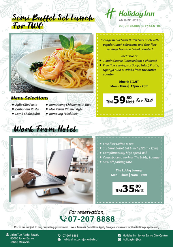 December Semi Buffet Lunch & Work From Hotel by Holiday Inn Johor Bahru City Centre