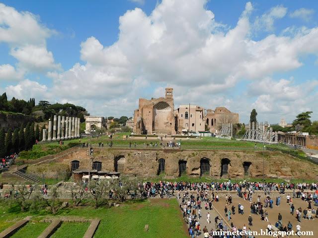 Вид на Храм Венеры и Ромы из Колизея