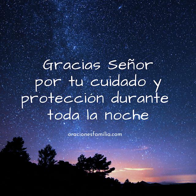 imagen de la noche con oración gracias a Dios por protección esta noche