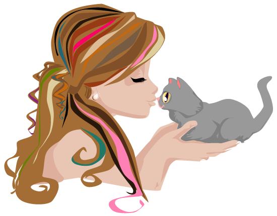 perfil de una muchacha dándole un besito a su pequeño gatito