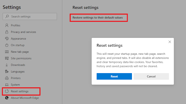 Reset your Edge browser.
