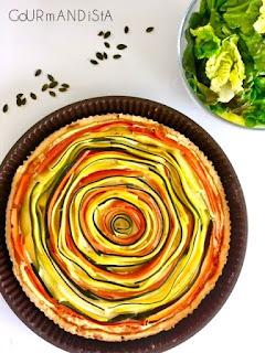 image Tarte ensoleillée aux légumes et à la crème de chorizo